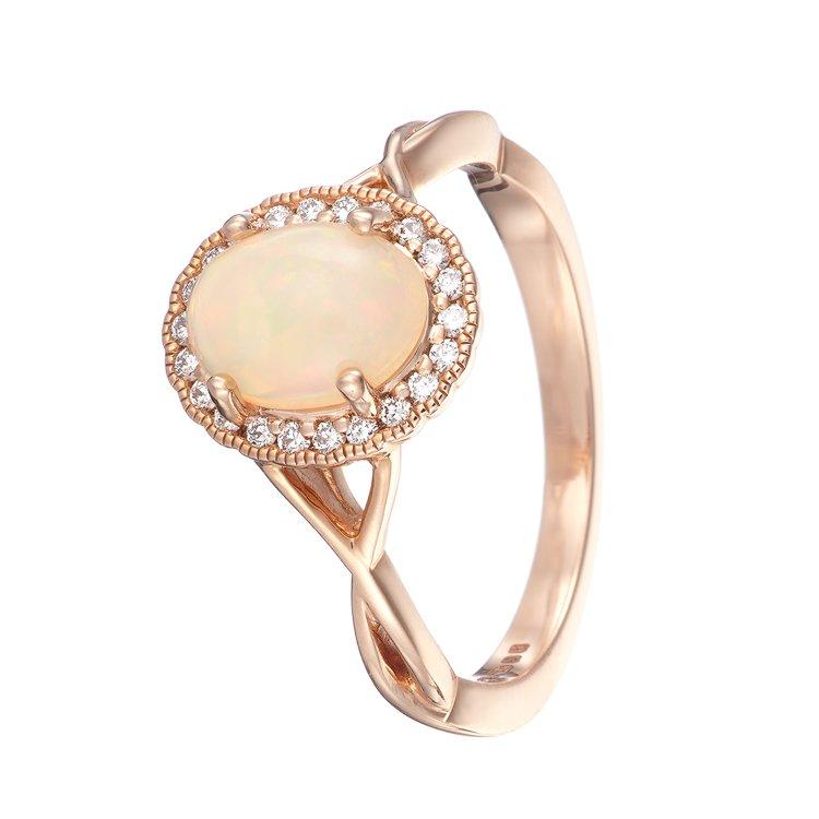 Opal rose gold diamond ring photographer